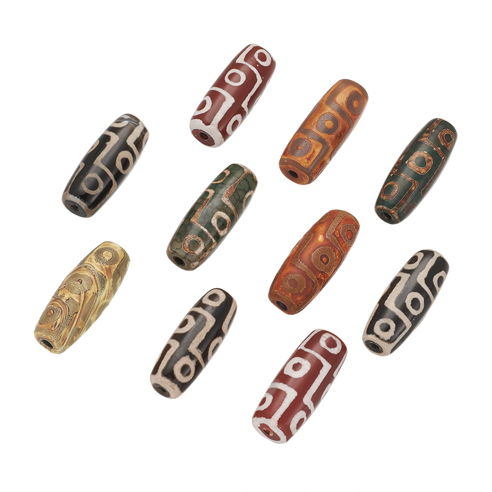 10× Tibetan dZi Bead Natural Agate Dyed Heated Rice Olive Drab Loose Craft DIY