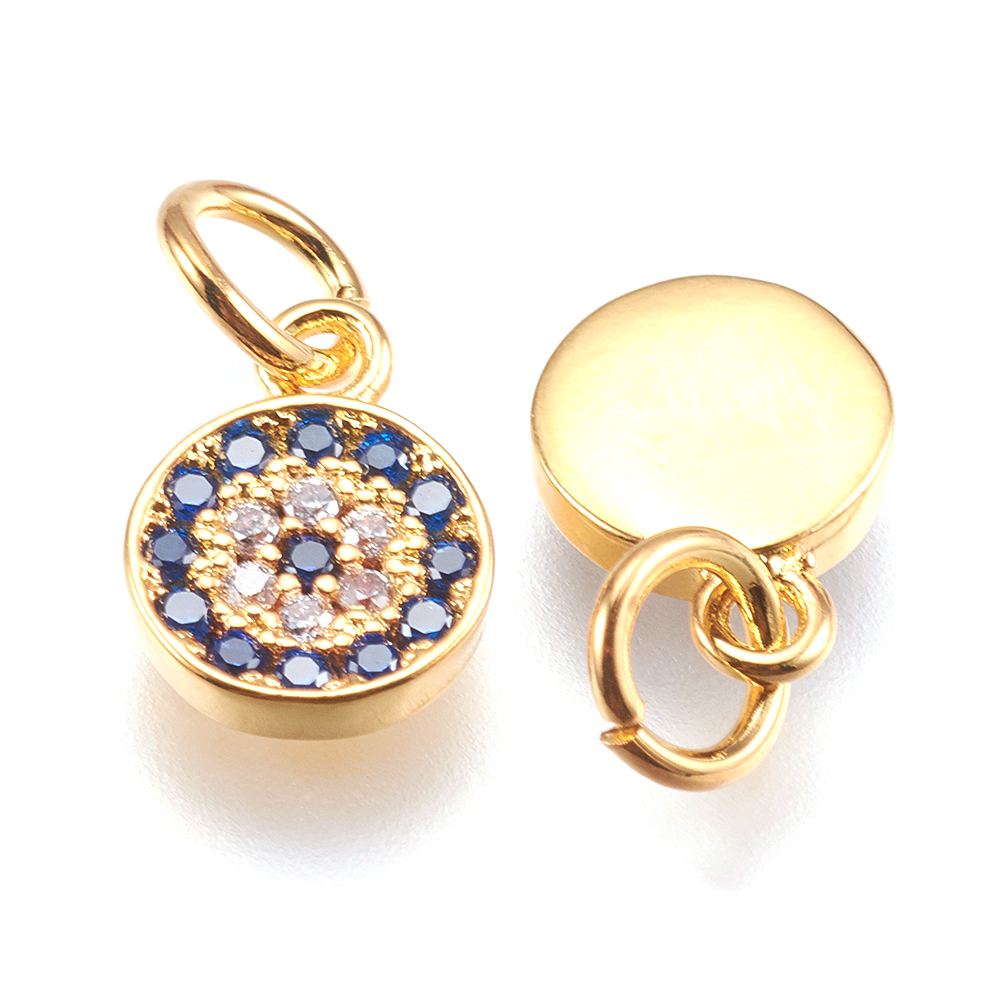 20 Brass Cubic Zirconia Rectangle Pendant 18K Gold Mini Extender End Charms 10mm