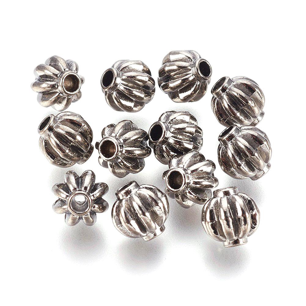 50pcs Tibetan Alloy Corrugated Metal Beads Lantern Nickel Free Loose Spacers 8mm