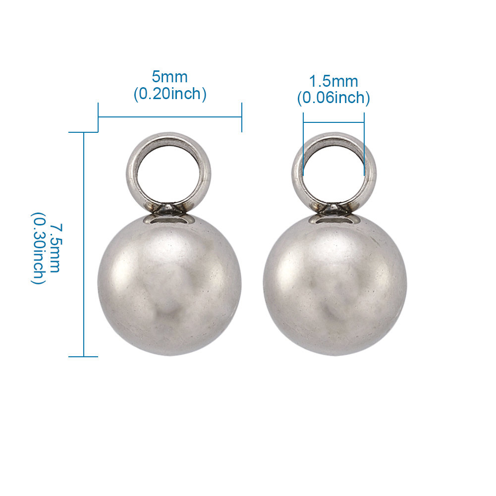 50pcs 304 Stainless Steel Tiny Mini Ball Charms Pendants End Pieces Smooth 7.5mm