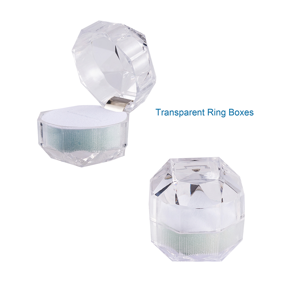 10pcs Acrylic Crystal Ring Earrings Display Boxes Transparent Jewelry Box LC