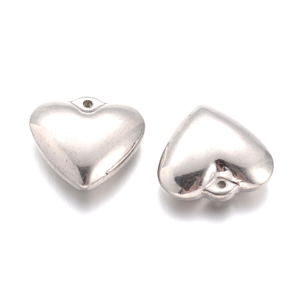 20pcs 304 Stainless Steel Heart Charms Smooth Mini Metal Pendants Crafting 6x4mm
