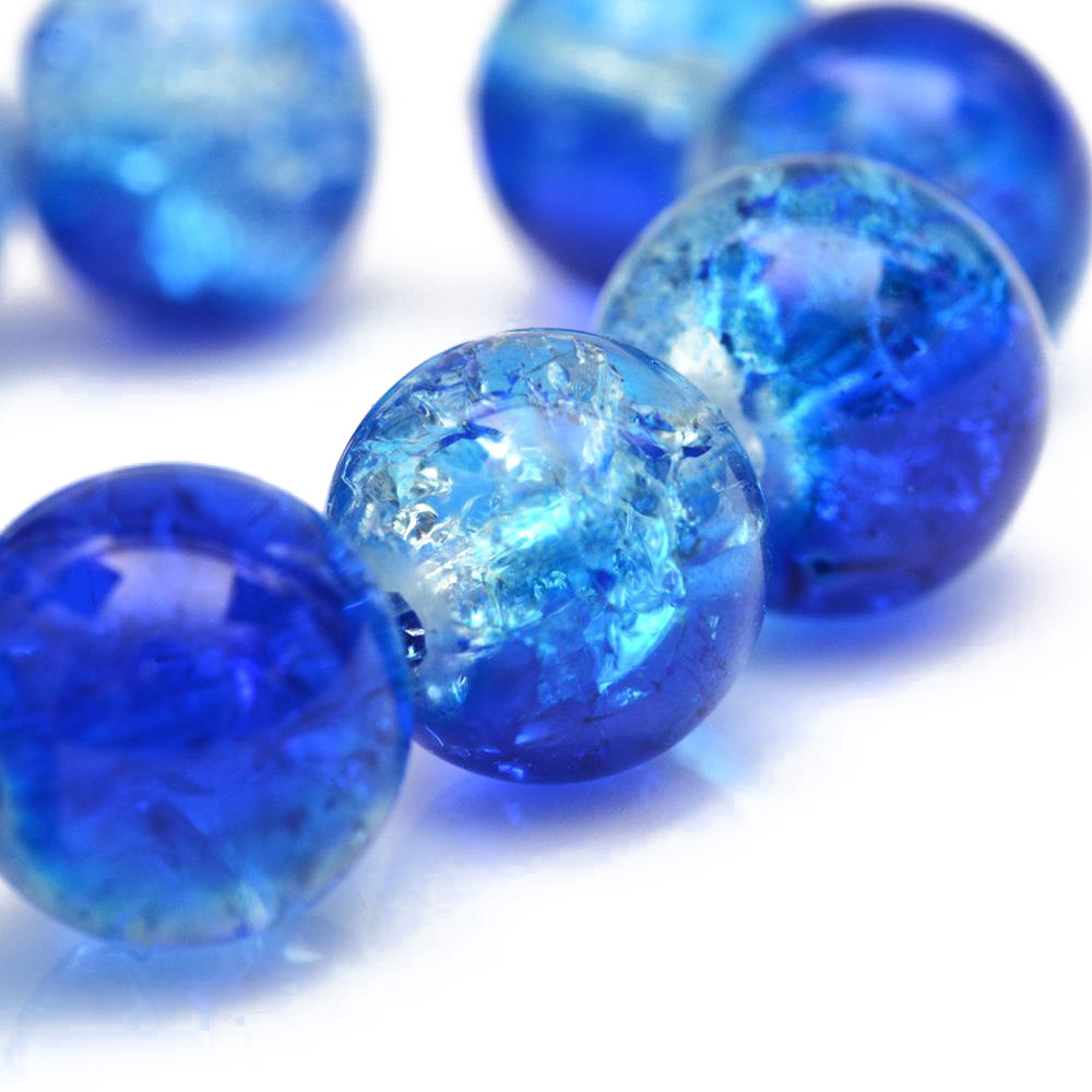 1 x 40pc Strand 40 pcs CLEAR **Crackle Glass Beads –  10mm diameter **