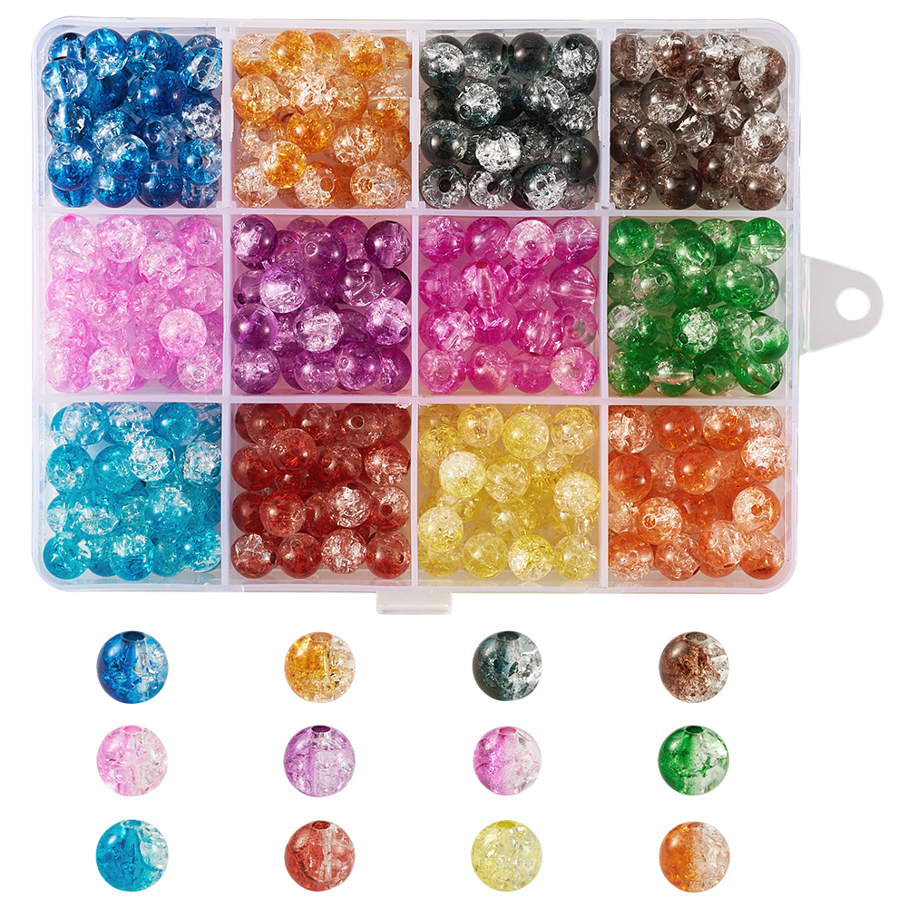 8 MM 50 x  MULTICOLOUR~ROUND~DRAWBENCH ~CRACKLE~GLASS BEADS