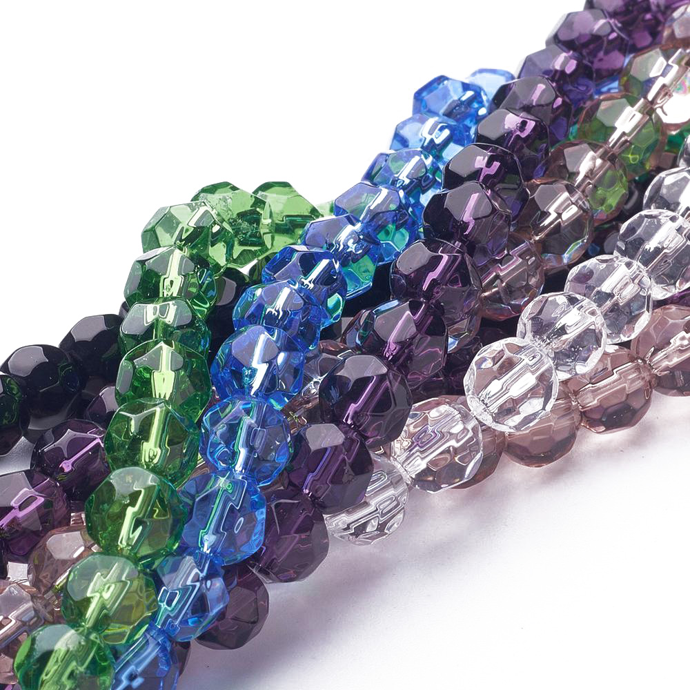 """10 Strands Mix Spray Painted Transparent Glass Bead Round 6mm 30/"""" Jewelry Loose"""