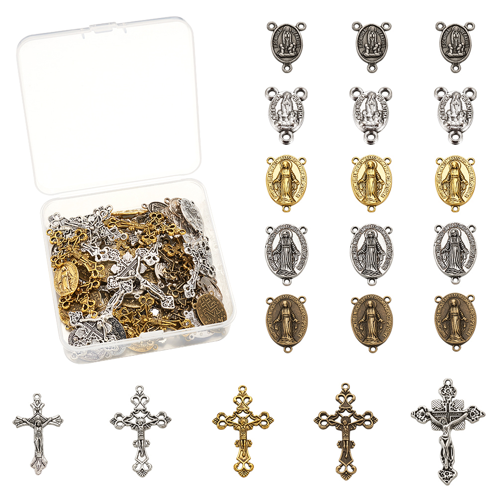 10Set Rosary Cross Center For Rosary Bead Necklace Alloy Crucifix Cross Pendants