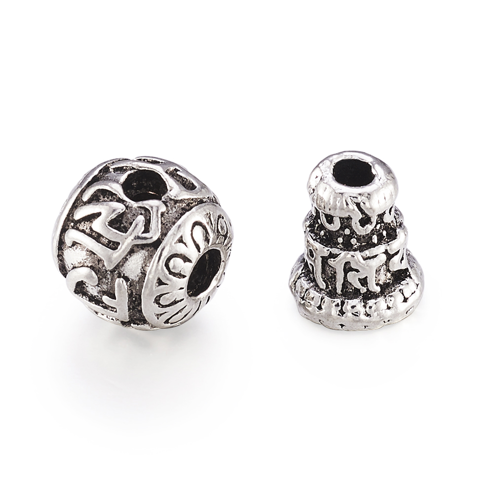 10 Tibetan Alloy Grooved Shuttle Metal Beads Big Loose Spacer Column Silver 22mm