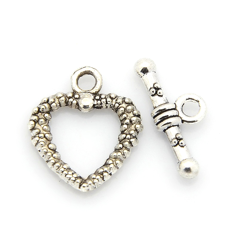 Silver Heart Toggle Clasps Jewelry Making Lot of 3 Packages