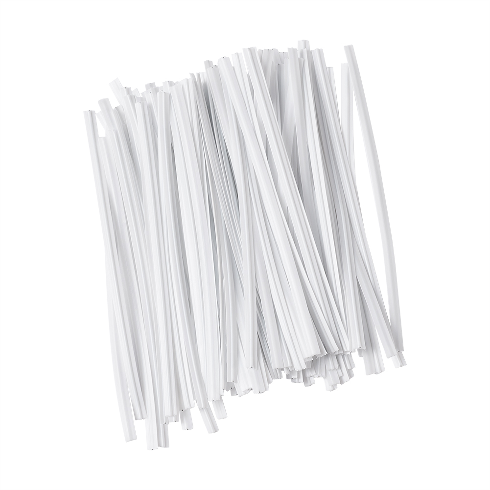 100pcs White PE Bendable Flexible Wire Twist Ties Bridge Wire Craft 150~200x4mm