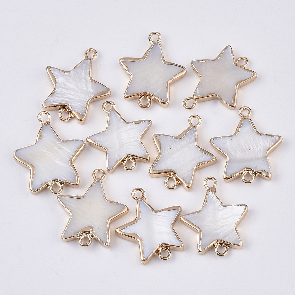 10pcs Star Shape Freshwater Shell Links Connectors 22mm for Jewelry Making