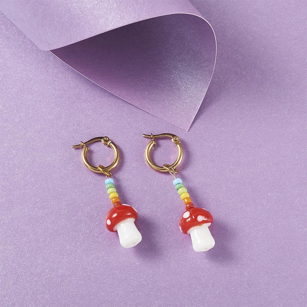 """16/"""" Handmade Lampwork Beads Strands Mushroom Smooth Beads Jewelry Making 15x2mm"""
