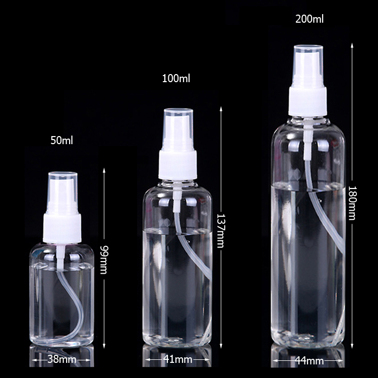 Details about Transparent 50ml 100ml 200ml Empty Plastic Mist Sprayer Bottles Perfume Cosmetic