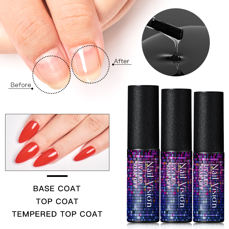 Details About Base Coat No Wipe Matte Top Coat Gel Nail Polish Foundation Set Kit Nail Vision