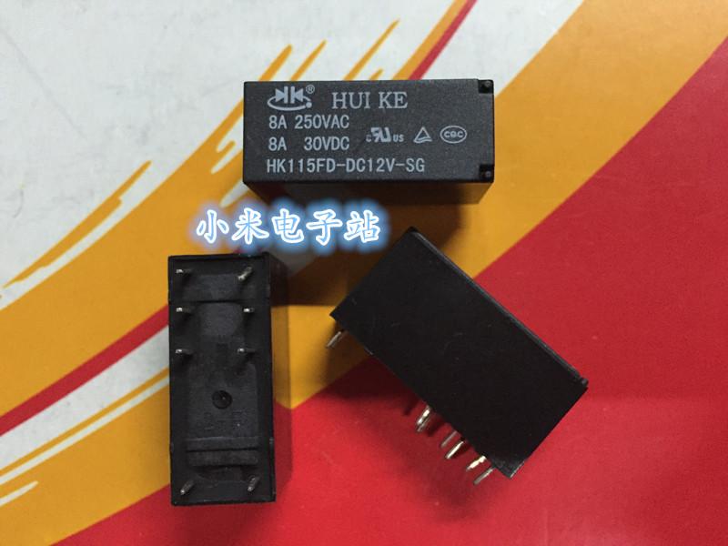 New HK115FD-DC12V-SG 12VDC HUIKE Power Relay 8A 250VAC  8 Pinsx10PCS