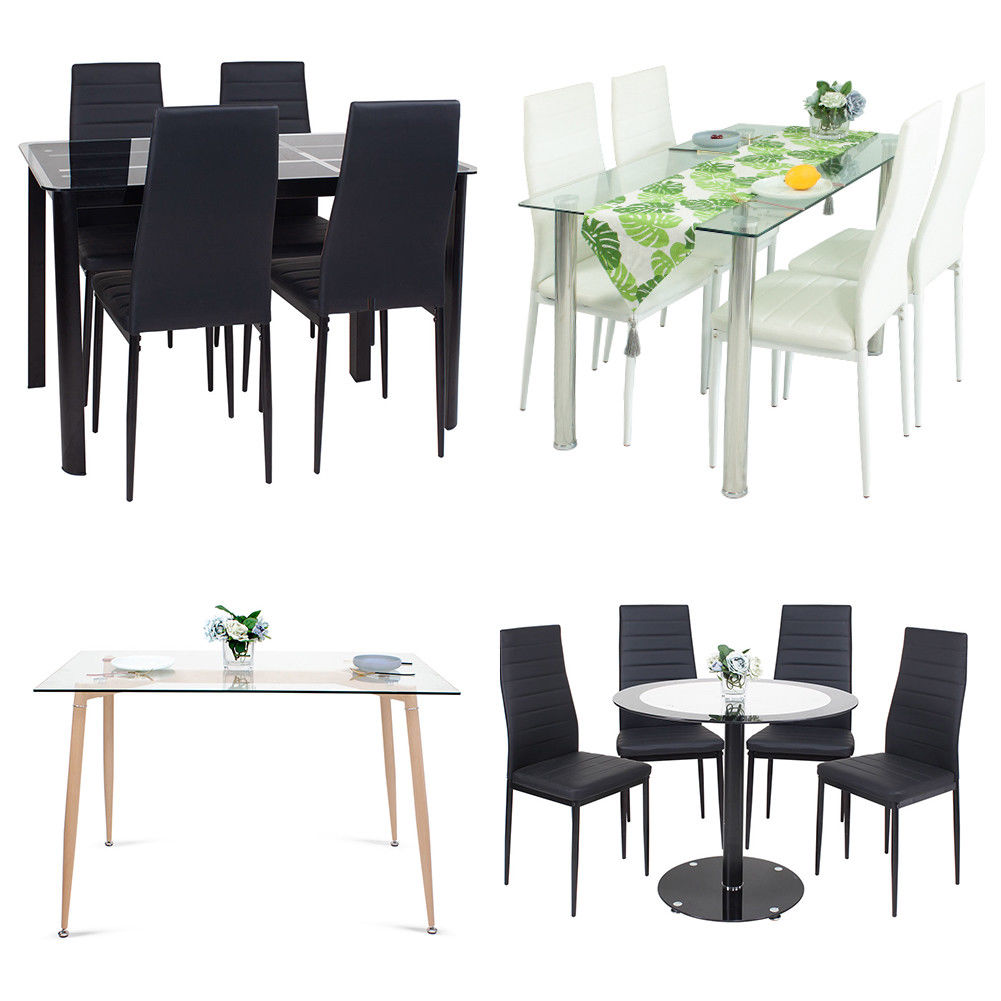 Details About Tempered Gl Dining Table 4 Pu Chairs Modern Design Room Black White