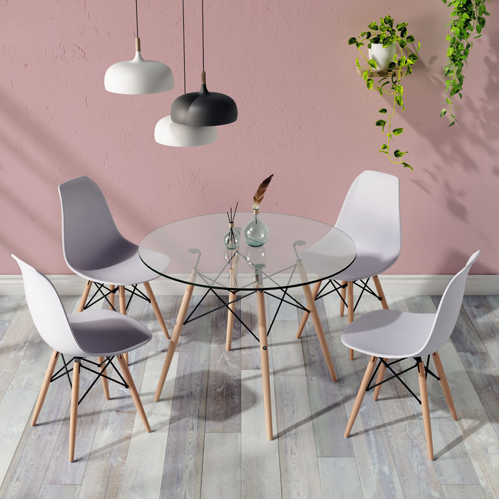 Round Dining Table And 4 Chairs Set Kitchen Dining Room