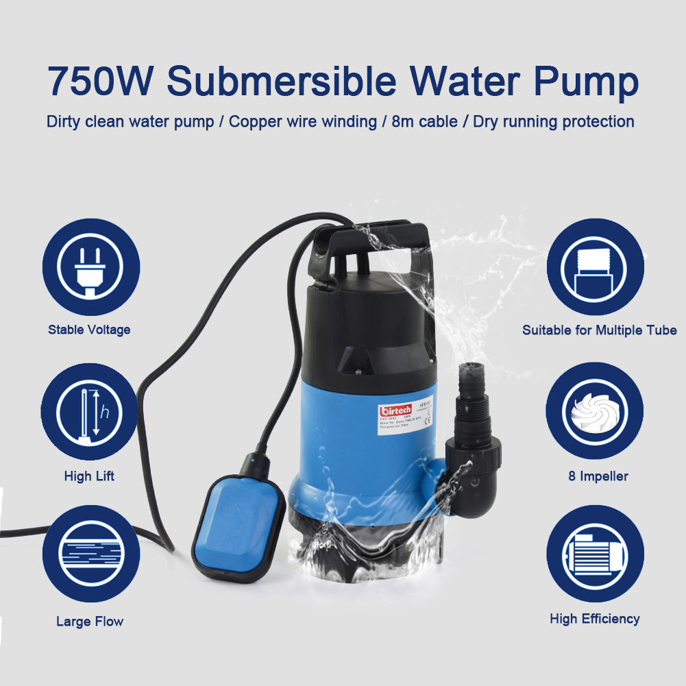 MD Electric Submersible Clean /& Dirty 750w Water Pump MD750CD Flood Pool Pond