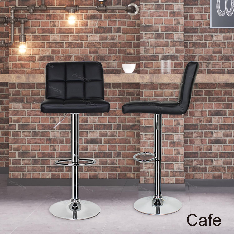 official photos e5d36 8e8ce Details about Set of 2 Bar Stools Faux Chrome Kitchen Breakfast Barstool  Gas Lift Swivel Black