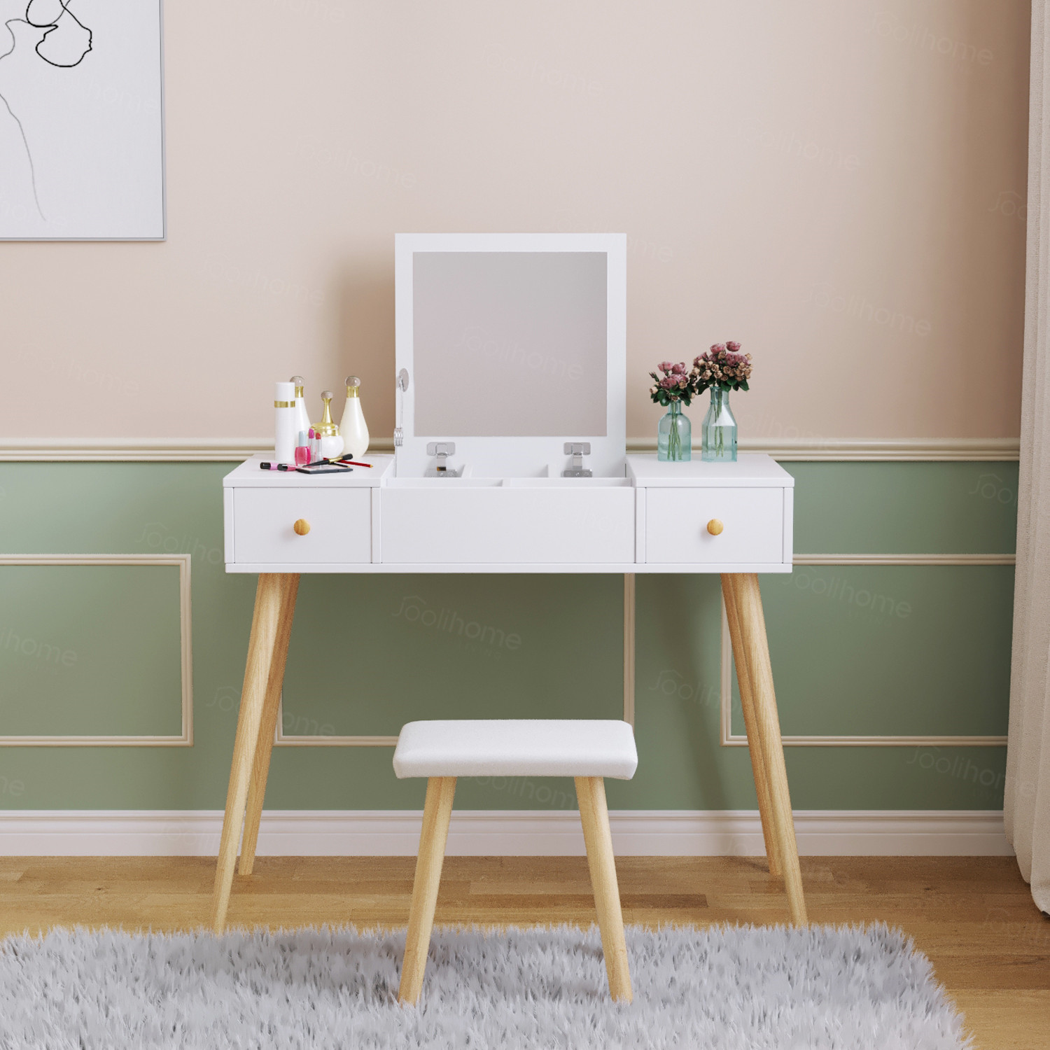 Details About Dressing Table Vanity Jewelry Makeup Desk W Mirror Drawer Stool Office Storage