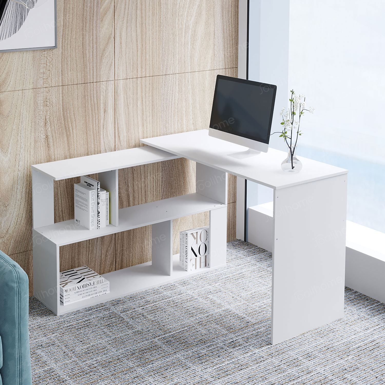 Marvelous Details About L Shaped Computer Office Desk 3600 Rotating Gaming Desk Workstation With Shelves Download Free Architecture Designs Estepponolmadebymaigaardcom