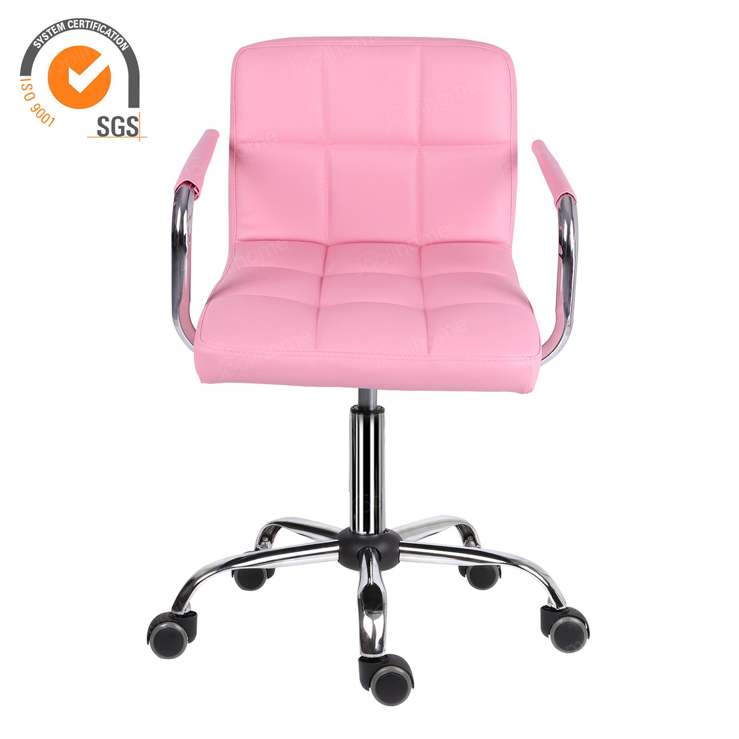 Pink Pu Leather Computer Desk Chair