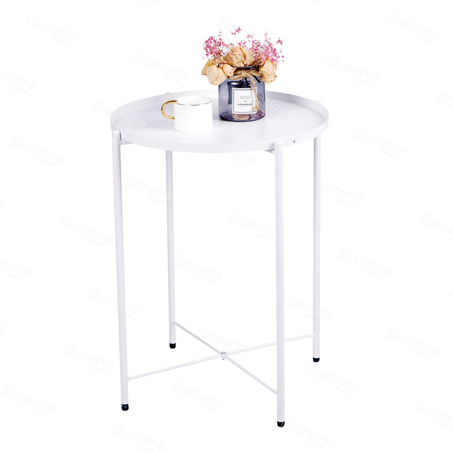 Small Round Sofa Side Table With Detachable Tray Top Terrace Garden Outdoor Indoor Snack Coffee Table For Living Room Joolihome Metal End Table Bedroom Balcony Hallway Black End Tables