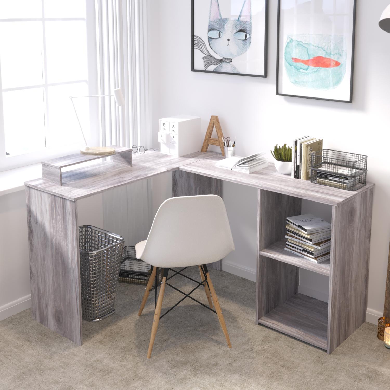 Large L Shaped Computer Desk Pc Laptop Table Home Office Workstation Grey Ebay