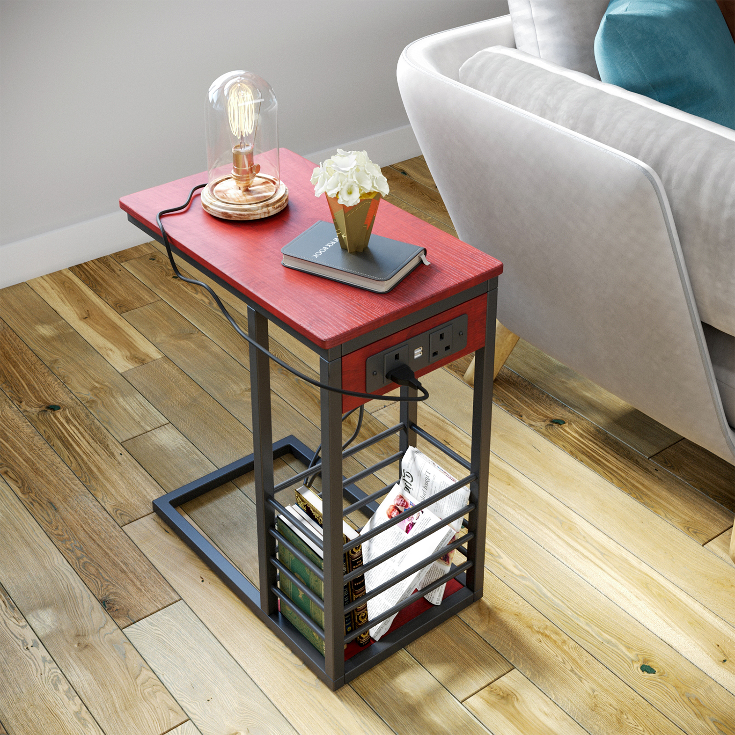 Bedside Sofa Side End Table Coffee Laptop Table with USB Ports Socket Wood Metal