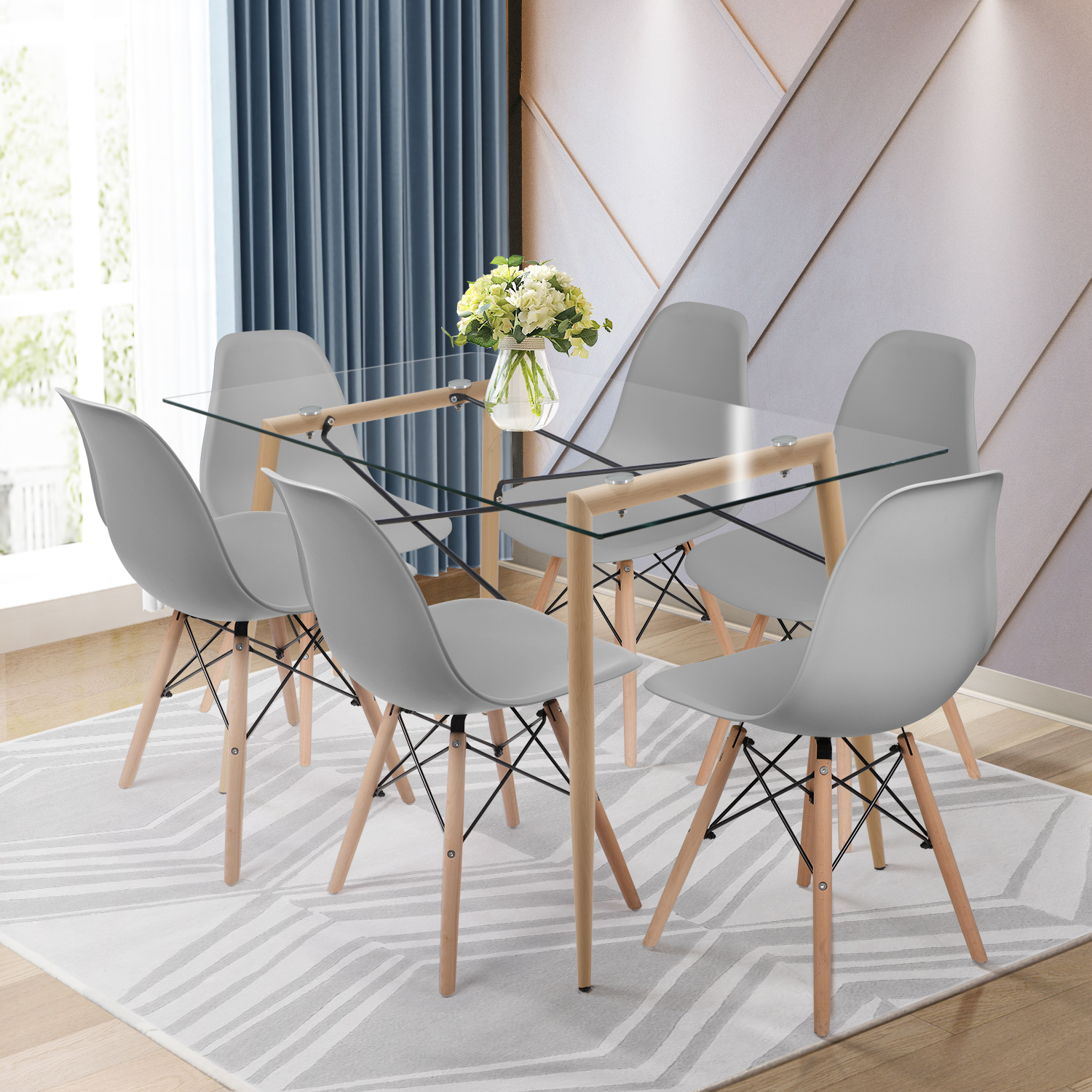 Picture of: Rectangle Glass Dining Table And 4 Chairs Set Dining Table Set For Dining Room Ebay