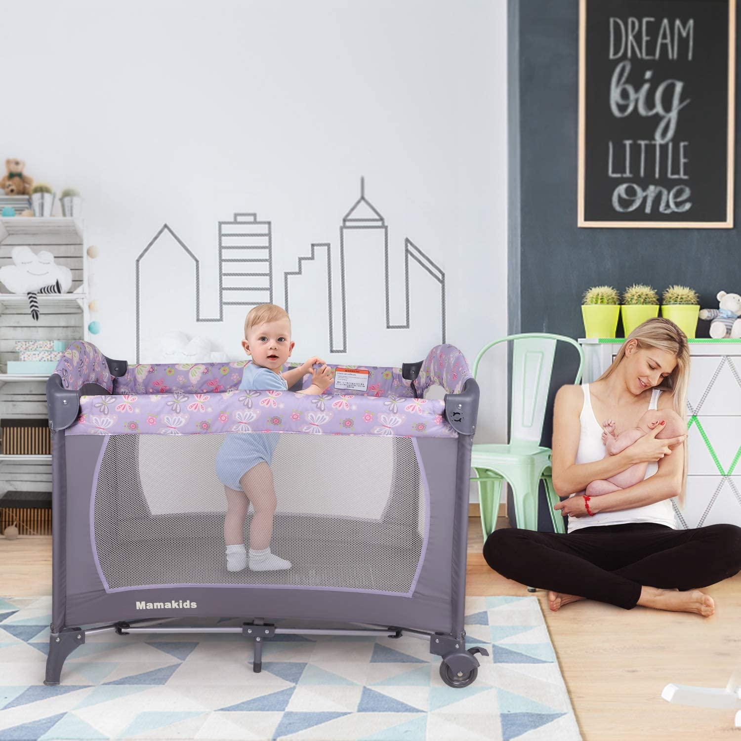Portable Baby Travel Cot Crib Bassinet Bed Playpen Infants with Mattress & Music