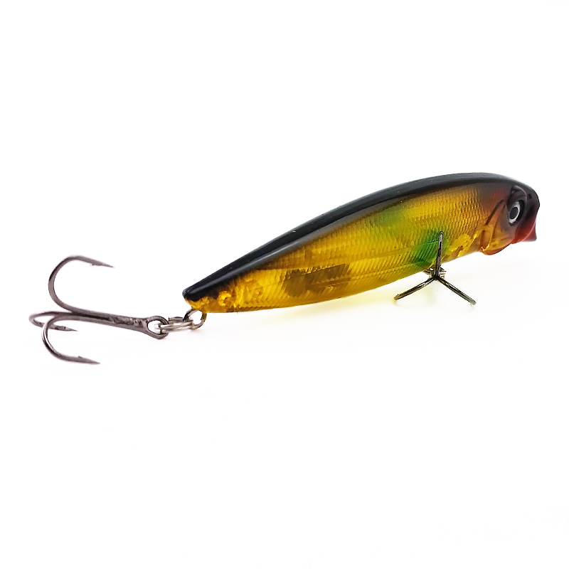 3.54/'/' Popper Fishing Lures Wobbler Rattles Bass Hooks Bait Tackle 9cm//11g New