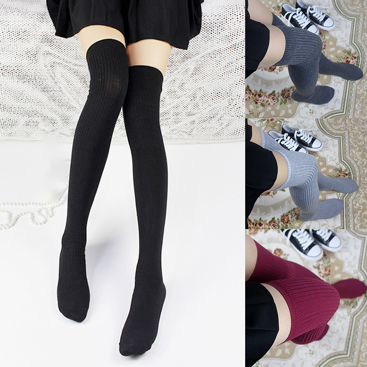 9b20701f4 Details about Women Girl Knit Over The Knee Socks Thigh High Fashion Cotton  Long Warm Stocking