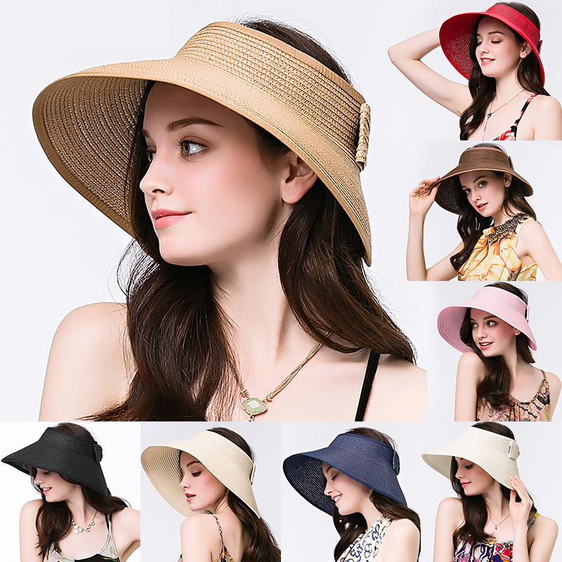 11a24814d Details about Women Straw Hat Sun Visor Wide Brim Floppy Foldable Hollow  Summer Beach Cap