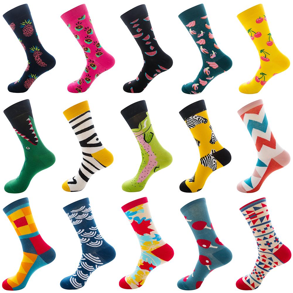 Men Women Socks Combed Cotton Animal Fruit Breathable Warm Long Socks Funny