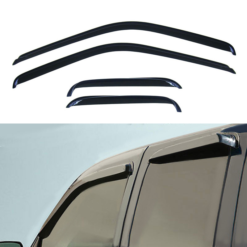 4pcs Dark Smoke Out-Channel Rain Guards For Chevy C1500 C3500 Ext Cab 1988-2000