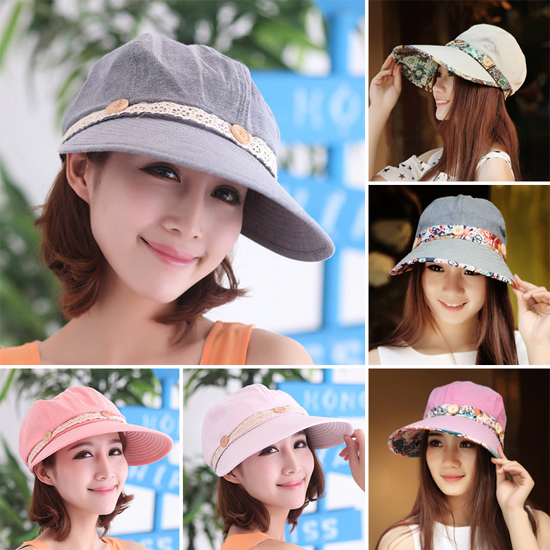 19597cbfb Details about Women Summer Wide Brim Foldable Sun Hats Anti-UV Protection  Visor Ponytail Cap