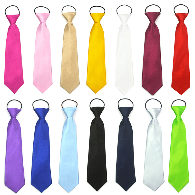 Boys Elastic Wedding Tie Childrens Kids Silk Satin For any age 27cm hot pink