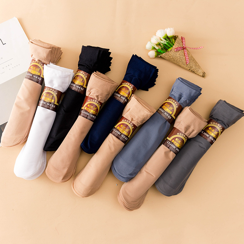 5//10 Pairs Comfort Women Casual Elastic Thin Ankle Silk Short Socks Silky Summer
