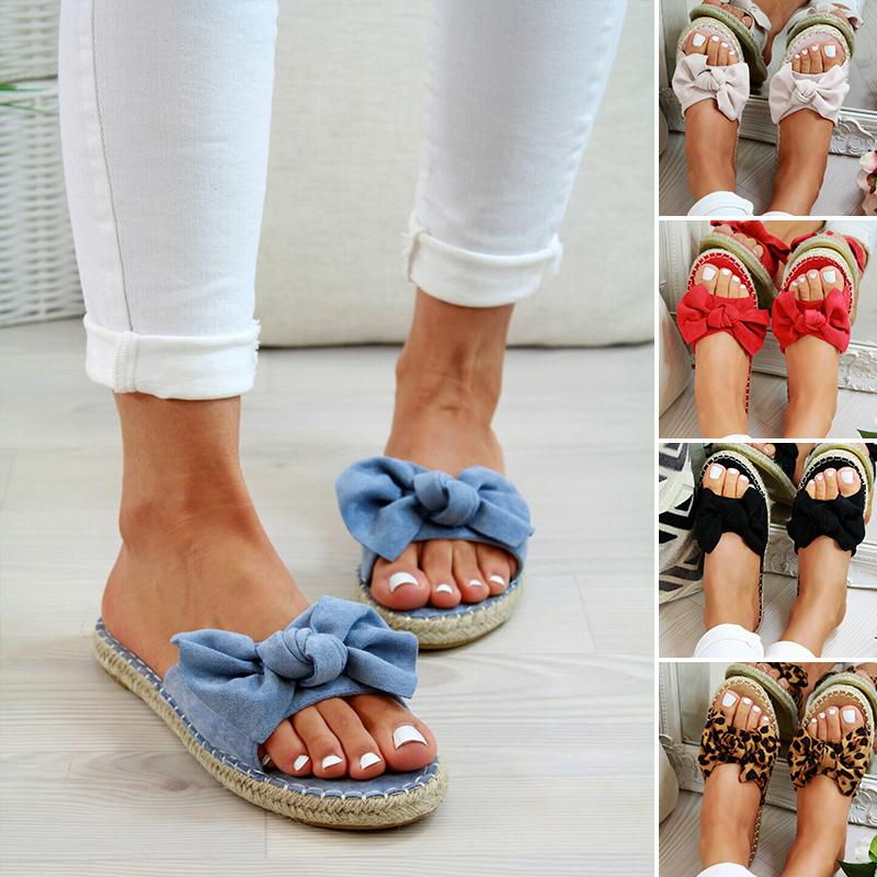 Womens Slip On Sandals Fashion Bow Flat Mule Sliders Espadrille Shoes Summer Ebay