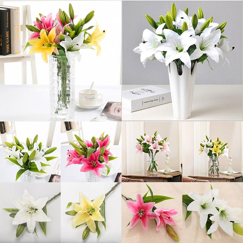 Artificial Flower Bouquet Lily  Fake Flower  Bridal Wedding Supply Home Decor