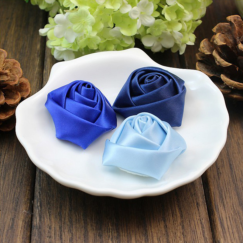 10//50//100Pcs Satin Ribbon Rose Flower Appliques Wedding Xmas Decor Craft Sew DIY