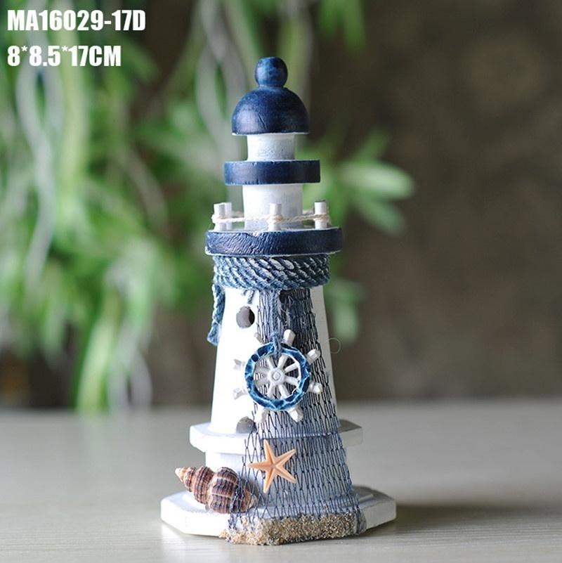 US Beach Home Decor Desk Ornament Colorful Wooden Lighthouse Nautical Decoration