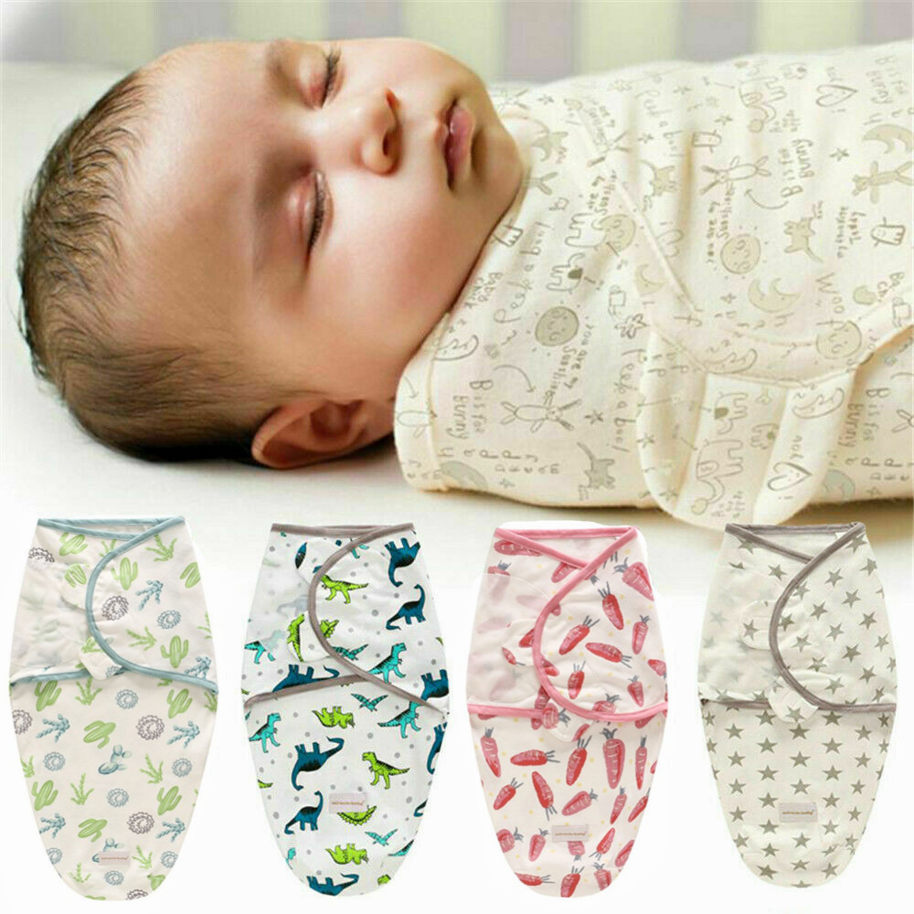 Newborn Toddler Babys Cotton Receiving Sleeping Blanket Boy Girl Wrap Swaddle FI