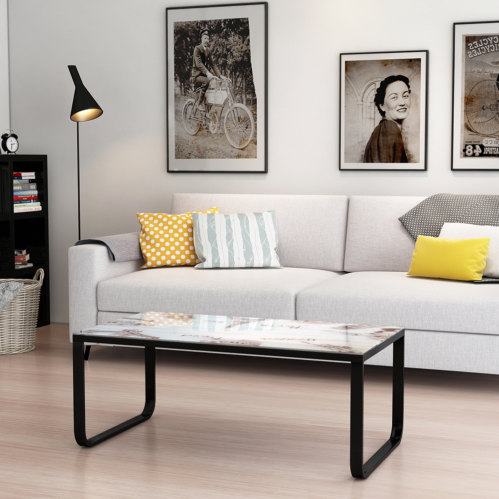 Coffee table with tempered glass top metal frame end side - Metal side tables for living room ...