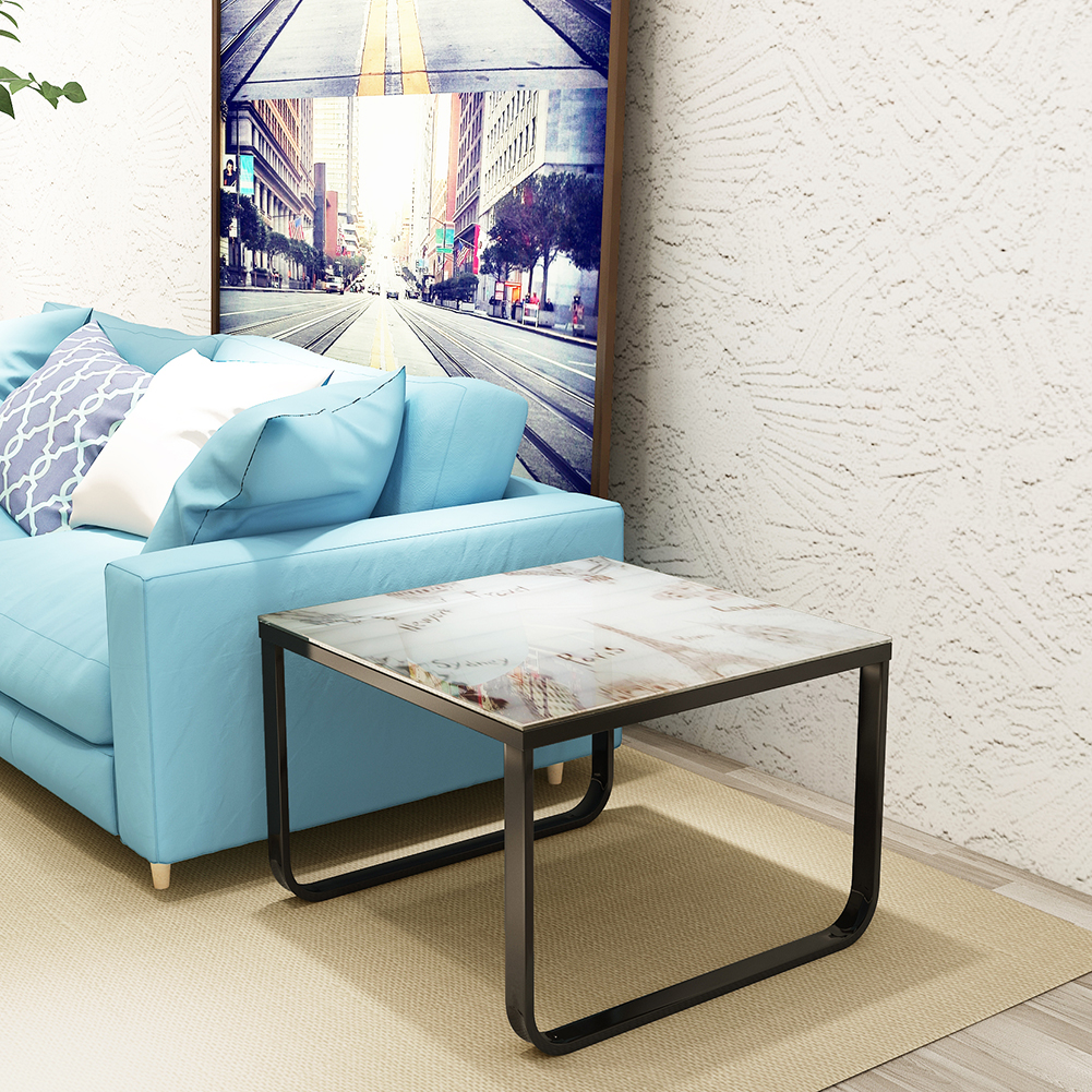 Coffee table with tempered glass top metal frame end side - Glass side tables for living room uk ...