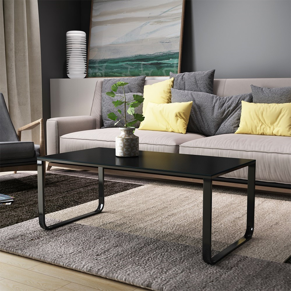 Coffee table with metal frame rectangle side table living - Metal side tables for living room ...