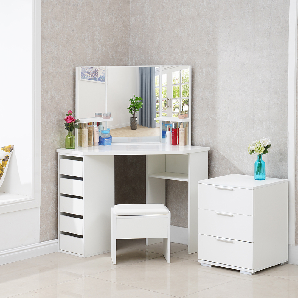 White Wood Corner Dressing Table