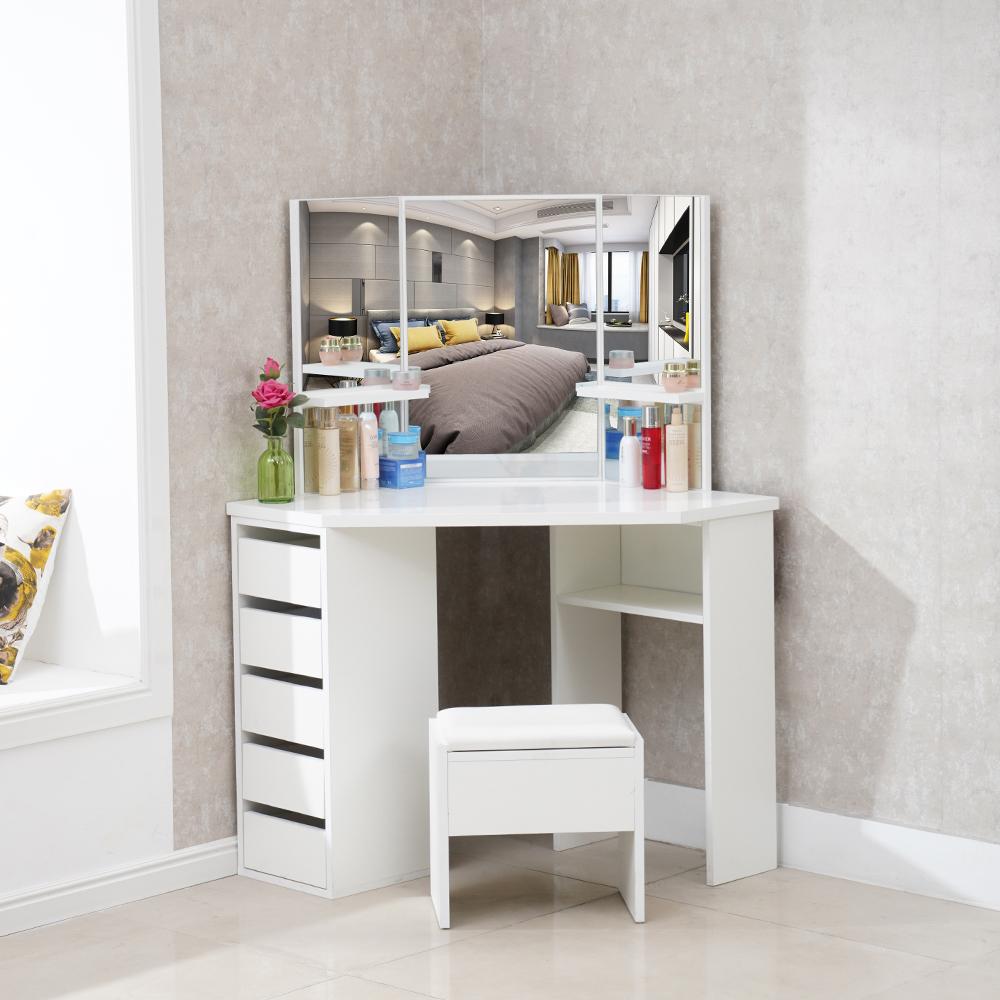 white corner dressing table makeup desk mirror drawer