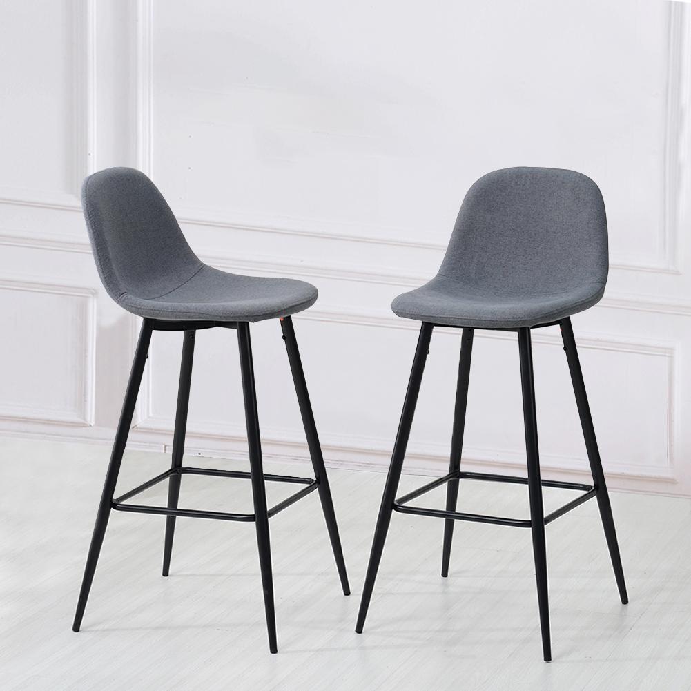 Wondrous Details About 2 Pcs Grey Bar Stools Fabric Rest Chair Kitchen Breakfast Seat Metal Leg Bar Pub Dailytribune Chair Design For Home Dailytribuneorg