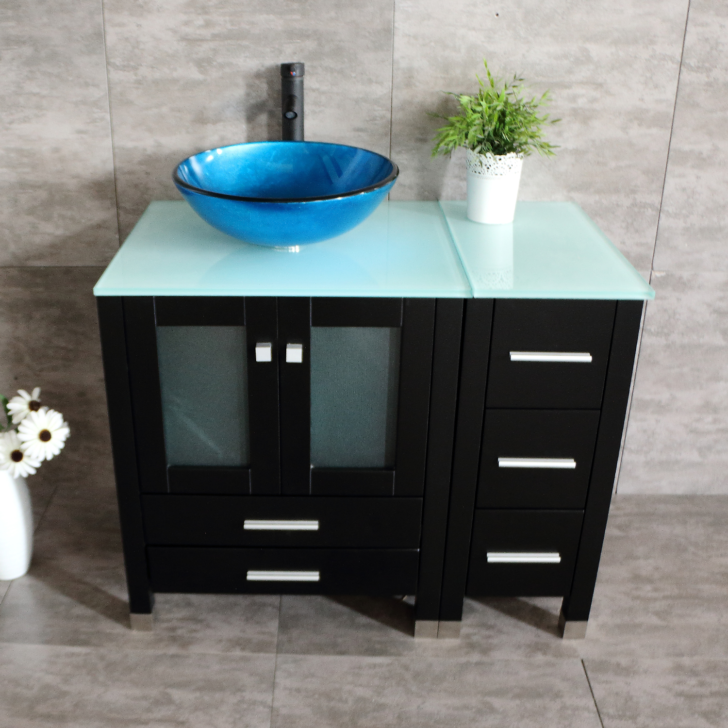Bathroom Vanity 36 Quot Single Plywood Cabinet Glass Vessel